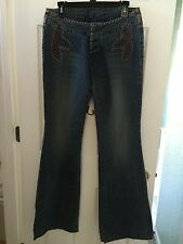 Parasuco Women's Flare Jeans 30 X 36 New Lots of Detailing Leather Retail $105