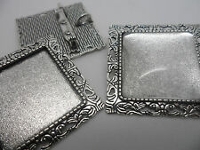 Vintage Antique SILVER Square Brooch  Kit, 3 settings,3 Cabochons,tray 25mm