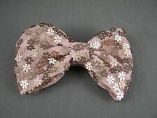 """Taupe flower sequins chiffon fabric BOW 4"""" wide barrette hair clip gator claw"""