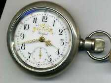 18 size Rockford pocket watch Our Own w. superb fancy dial in 4 oz. silver case