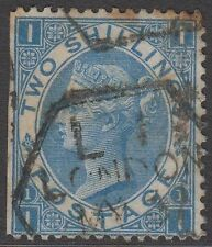 "GB QV 2s. Dull Blue SG118 Plate 1 ""II"" Used Stamp 2/- Cut Down Wing Margin Stamp"