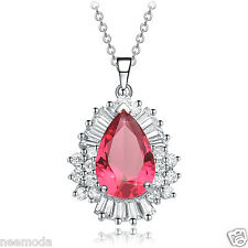 Mothers Day Gifts NEEMODA Pink Cubic Zirconia Pendant Necklace White Gold Plated
