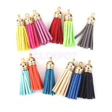 12pcs Multi-color Velvet Tassel Charms w/ Gold Cap for Jewelry & Crafts 43mm