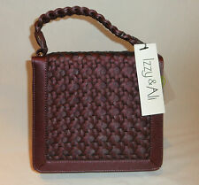 IZZY AND ALI ABBEY TOP HANDLE $129 VALUE PURSE PURPLE WOVEN FAUX LEATHER NWT