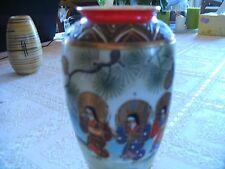 Kleine chinesische Vase16x6 signiert 3tanzente Geishas bemalt u. Goldeinlagen