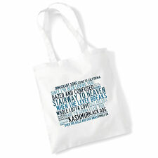 Art Studio Tote Bag LED ZEPPELIN Lyrics Print Album Poster Beach Shopper Gift