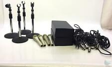 Lot of 4 Lanier 500 Ohm Microphones w Stands