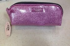 NWT~Victoria's Secret Pink Glitter Shimmer Sparkle Logo Bag Makeup case long