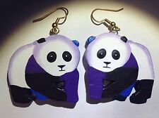 Panda Bear Earrings Gold Earring Animal Wild Giant Endangered Species Wildlife -