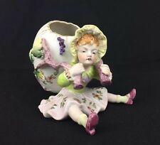 Antique Vintage Porcelain Bisque Handpainted Figurine Young Girl With Egg Basket