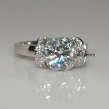 1.50+ct Light Blue Color Moissanite .925 Sterling Silver Engagement Ring
