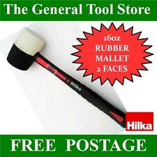 HILKA 16 oz RUBBER MALLET BLACK AND WHITE FACES RUBBER GRIP NON MARKING WHITE