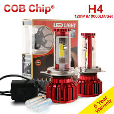 120W 10000LM H4 LED Headlight Kit 9003 Bulb Hi/Lo Beam HB2 COB Lamp 6000k 8000k