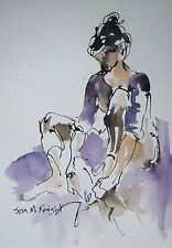 "ORIGINAL SERA KNIGHT S.W.A ""Getting Ready"" Pen & Wash Dance Ballet Girl PAINTING"