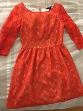 French Connection Orange Off White Fit Flare Lace Dress Size 6 Quarter Sleeve