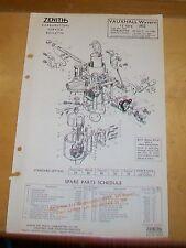 Opel Wyvern 1 1/2 1952 30 VIG-7 para carburadores Zenith notas técnicas de piezas de repuesto