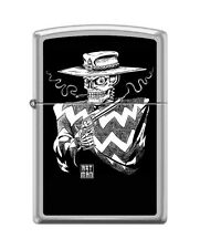 Zippo 205 Desperado 'Art Man' Smoking Skull with Pistol RARE Lighter