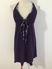 Lucky Brand Swimsuit Cover-Up Halter Tunic Top Deep Purple/Plum Terry Size XS-S