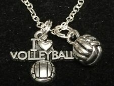 "I Love Volleyball & 3D Ball Charm Tibetan Silver 18"" Necklace"