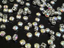 100 x 6mm AB vetro Sew su Argento Set Cristalli Diamante STRASS SS30 Craft