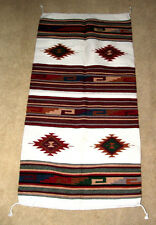 "Hand Woven Wool Throw Rug Southwestern Western 32""x 64"" Tapestry #128B"