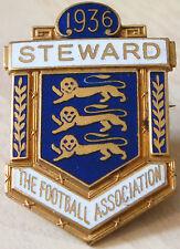 THE FOOTBALL ASSOCIATION 1936 STEWARD Badge Maker DENTON&DOWN LONDON 25mm x 38mm