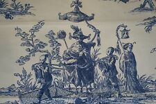 Toile Fabric Blue and White Printed Duralee Fabric Toile Shanghai 2 yards