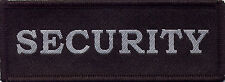 Security Woven Badge Patch  Black With Silver Grey Text 10.2cm x 3.7cm