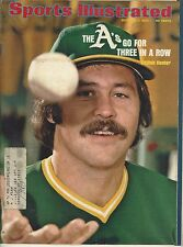 CATFISH HUNTER / A'S GO FOR 3 IN A ROW  OCT 7 1974 SPORTS ILLUSTRATED BASEBALL