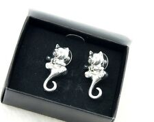 Very unusual silver tone cat with movable tail stud earrings