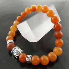 FSA704 GENUINE REAL 925 STERLING SILVER BUDDHA AMBER BEAD STYLE BRACELET BANGLE