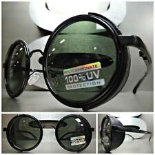 VINTAGE RETRO STEAMPUNK CYBER Round Blinder SUN GLASSES Black Frame - Green Lens