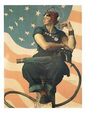 "Norman Rockwell print ""ROSIE THE RIVETER"" 11x15"" WWII WW2 Wixom Guinness Record"