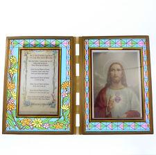 Vitrail double cadre avec Consécration pour le sacré Cœur & image 18cm