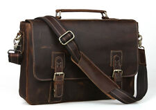 Antique CRAZY HORSE Genuine LEATHER Briefcases Shoulder Laptop Bags cross body