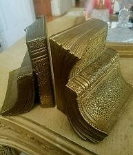 Vintage Gold Leaf Brass Book Shaped Book Ends Book Holders Library Collectible