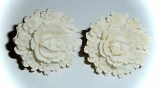VINTAGE - FAUX-IVORY RESIN 'CARVED' FLORAL CLIP-ON EARRINGS