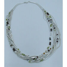 13 Strand .925 Sterling Silver Natural Peridot Garnet Quartz Amber Necklace
