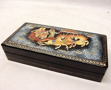 Vtg Palekh Hand Painted Russian Lacquer Box Signed Troika 3 Horse Carriage Folk