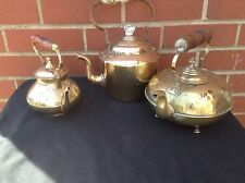 Trio Of Vintage Brass Tea Pots Kettles