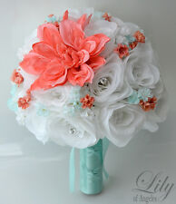 17pcs Wedding Bridal Bouquet Silk Flower Decoration Package Rose CORAL TIFFANY