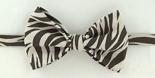 Zebra Print Traditional Large 100 % Leather Bow Tie. Limited Edition. £18.99