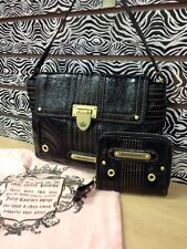 Juicy Couture Handbag and Wallet Black Leather (358)