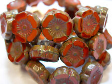 12 beads - Orange Opal Czech Glass Flower Beads 12mm