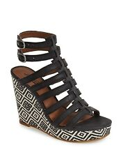 NEW Lucky Brand Labelle Black Leather Gladiator Wedge Sandals sz 9 Heels
