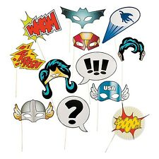Superhero Photo Booth Props 12 Pack -  Super Hero Stick Costume Props