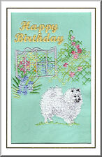 Japanese Spitz Birthday Card Embroidered by Dogmania - FREE PERSONALISATION