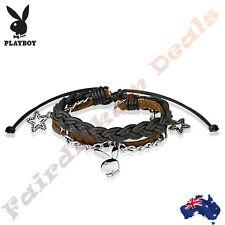 Genuine Playboy Bunny Leather & Brass Charm Bracelet