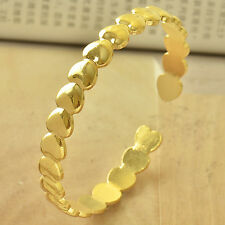 Lovely 9K Yellow Gold Filled Link Heart Women's Cuff Bangle Fashion Bracelet