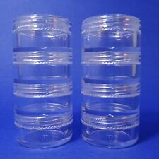 80 set 4 Stacked Storage Container Mini Clear Plastic Jar Travel Sample Case 5 g